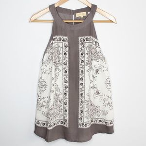 Lucy & Laurel | High Neck Gray & White Tank Size M